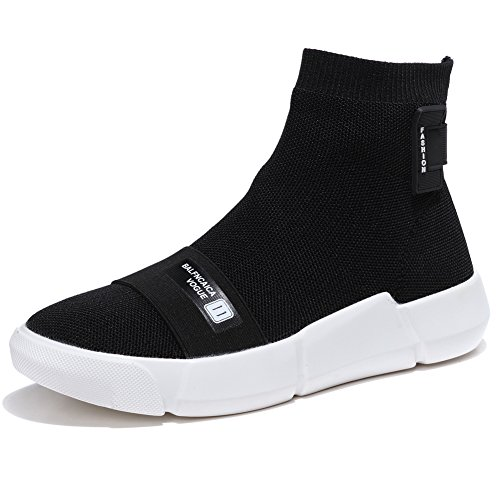 KONHILL Men and Women Lightweight Casual Walking High Top Ankle Socks Shoes Breathable Knit Sneaker, Black, 40