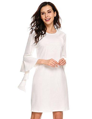 Beyove Femmes De Style Asymétrique Robe Simple Lâche Décontracté À Manches Courtes Col Maquette Tunique 6: Blanc