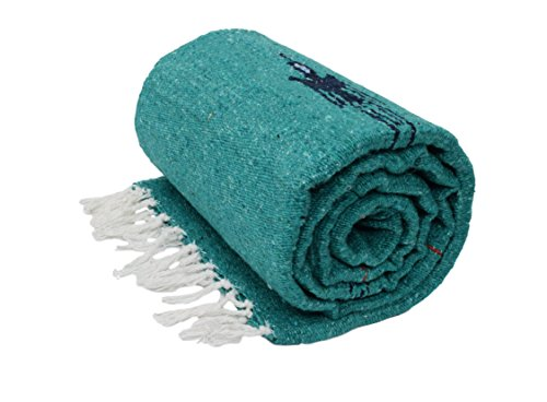 Turquoise / Sea Green Thunderbird Heavyweight Yoga Blanket-- Made for Yoga! Hand-Made Mexican Blanket