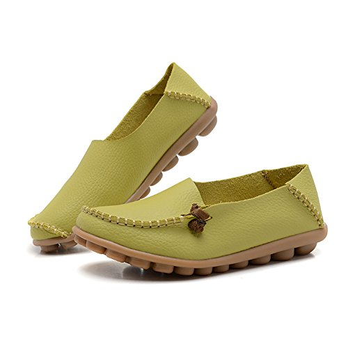 Fisca Leather Women's Moccasins Loafer Flat Shoes Aqua pVDHnbo