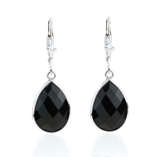 14k Drop Onyx Earrings (14K White Gold Handmade Earrings With Dangling Pear Shape Black Onyx)