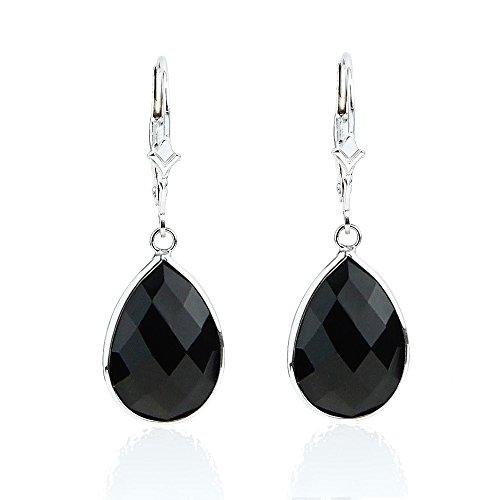14K White Gold Handmade Earrings With Dangling Pear Shape Black - Gold Onyx Dangling