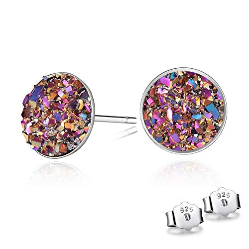 CERSLIMO Champagne Gold Round Cut 8mm Druzy Earrings Sterling Silver Earing For Women