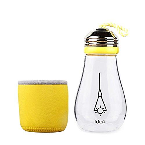 Keemanman Creative Bulb Cup,BPA Free Glass Travel Tea Mug,Cute Water Bottle with Neoprene Sleeve 14 Ounce (yellow)