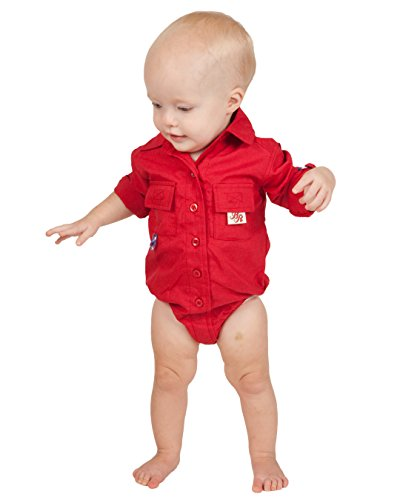 BullRed Baby Boys Red PFG Vented Fishing Shirt Button Up One Piece Snaps, 24m