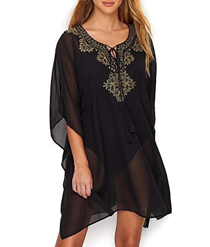 Miraclesuit Women's Petal to The Metal Embellished Caftan Cover-Up Black - Embellished Caftan