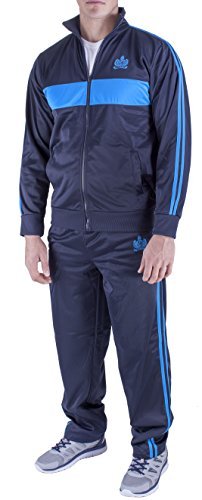 Vertical Sport Men's 2 Piece Jacket Pants Track Suit JS15 (Large, Navy/Aqua)