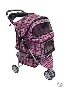 Amazon.com : BestPet Pet Stroller Cat Dog 3 Wheel Walk Travel Folding Carrier W/Rain Cover Pink
