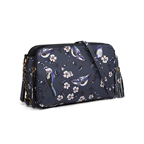 Bag Mini Matte 6802 Navy Pattern Women's And Shoulder Retro Small Flowers Miss Lulu Girl's Clutch Birds City Oilcloth Handbag I7WqwzCT