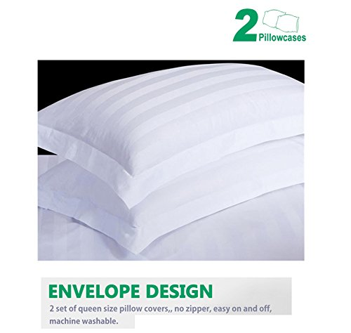CE CASA ESENCIA Luxury 100% Egyptian Cotton 1000 Thread Count 2 Piece Pillowcase Set Stripe (Queen, White)
