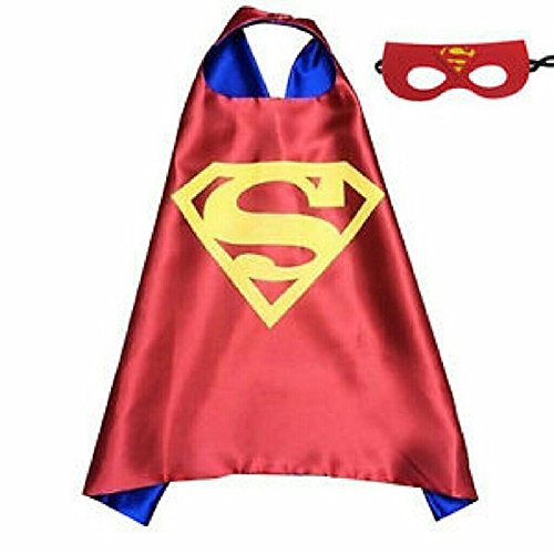 [Superhero Cape & Mask Costume Set Super Kids Boys Girls Birthday Party Dress Up Superman Red] (Marvel Super Villains Costumes)