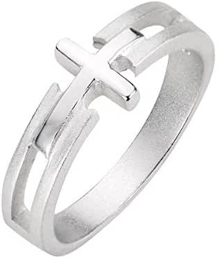 Sterling Silver Salvation Sideway Cross Ring (Sizes 3-13)