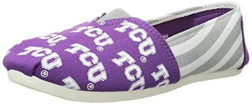 Forever Collectibles NCAA TCU Horned Frogs Women's Canvas Stripe Shoes, Large (9-10), Purple