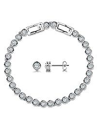 Silver Bracelet Silver Earrings for Women with Swarovski Crystals, Silver Jewelry Sets Earrings Women Gifts for Mom Women