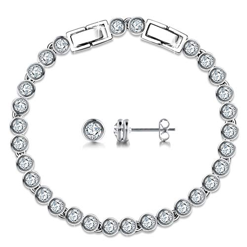 (GEORGE · SMITH Classic White Circle Gold Plated Tennis Strand Bracelet and Earring with Swarovski Crystals Wedding Anniversary Jewelry Sets for Women)