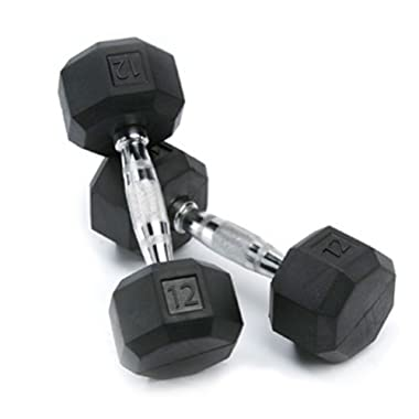 SPRI Deluxe Rubber Dumbbells (Sold as set of 2) (12-Pound)