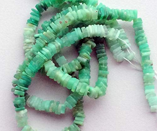 1 Strand Natural Chrysoprase Dish Heishi Beads, Chrysoprase Necklace, Chrysophase Square Heishi, 5-6mm, 16 Inch by Gemswholesale
