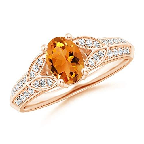Knife-Edged Oval Citrine Solitaire Ring with Pave Diamonds in 14K Rose Gold (7x5mm Citrine)
