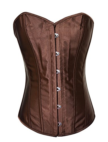 Chicastic Brown Satin Sexy Strong Boned Corset Lace Up Overbust Bustier Bodyshaper Top - Large