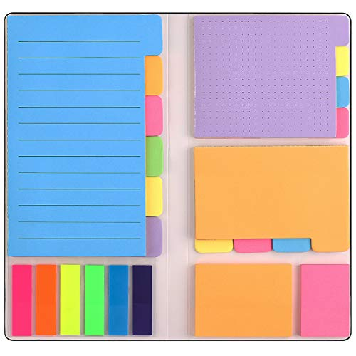 Sticky Notes Set - Sticky Notes Set with Bookmark Index for Planner Bullet Journaling Notebook Textbook Calendar, 402Pcs Divider Sticky Notes Bundle, Including 60 Ruled Lined Notes, 48 Dotted Notes, 48 Blank Notes etc