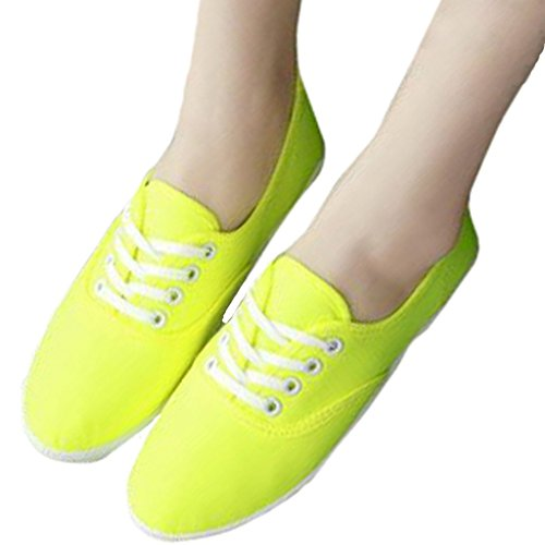Estimado Tiempo Informal Candy Color Canvas Zapatos Amarillo