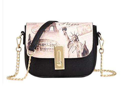 nuevo mujeres bolso hombro FAIRYSAN de de de bolsa bolsa bolsa cuerpo las elegante impresiones la con mensajero negro elegante de cruzada cadena YOccZd