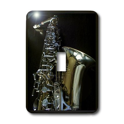 3dRose lsp_44780_1 Sax on Black Light Switch Cover