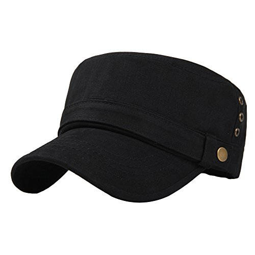 Men's Cotton Flat Top Peaked Baseball Twill Army Millitary Corps Hat Cap Visor (Black-Three Holes)