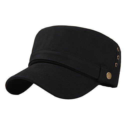 1e494891172 Men s Cotton Flat Top Peaked Baseball Twill Army Millitary Corps Hat Cap  Visor. Black. Army Green. Navy. Dark Gray. Army Green-three Holes.  Black-three ...