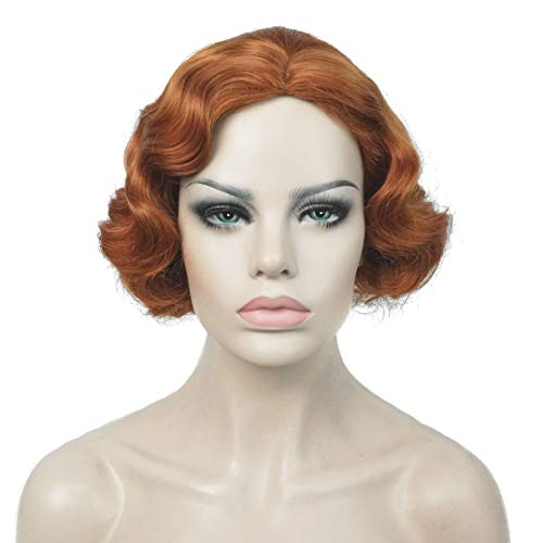 Lydell Vintage Cosplay Party Wig Short Finger Wavy Flapper Hairpiece +Free Wig Cap (#130A Copper ()