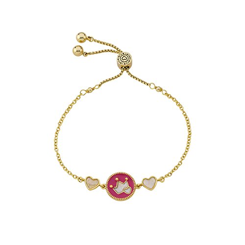 LMTS Little Miss Flower Girl 14K Gold Plated Hot Pink Enamel Cut Out Crown Over Mother of Pearl Expandable BraceleT