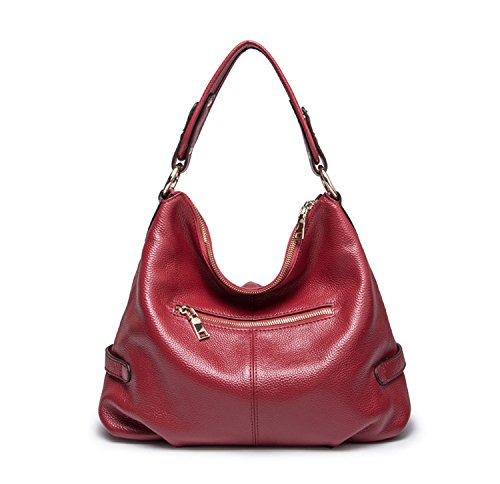 Red Purses Satchel Leather Mayshe Handbag Bags Womens Casual and Shoulder Genuine Style Hobo Crossbody Tote W4B6vz4qnx