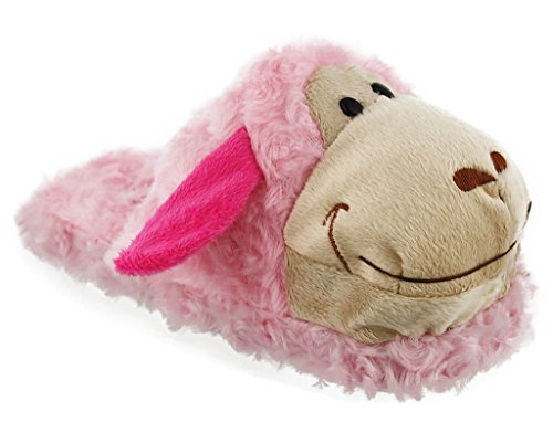 Whimiscal Ladies Animal Character Slip On Fuzzy Plush Slippers Pink VjNHPV