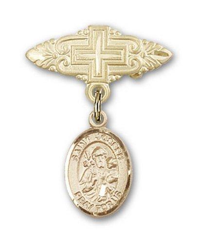 Icecarats Or Bijoux De Créateurs Rempli R. Joseph Broche De Badge Charme Avec Une Croix X 3/4