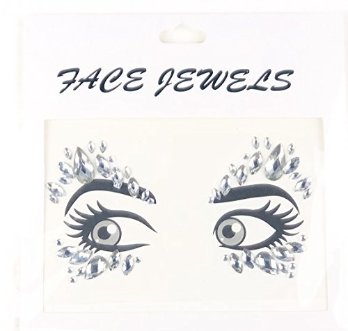 DaLin Face Gems Rave Festival Jewels Crystals Bindi Rainbow Tears Rhinestone Temporary Tattoo Face Rocks SFA003 (White)