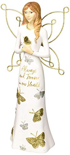 Pavilion Gift Company Always & Forever in Our Hearts-7.5 Inch White & Gold in Memory Figurine 7.5