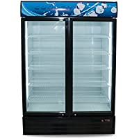 Grab N Go Refrigerator Double Glass Door, Black Merchandiser Refrigerator - 49.44 Cu. Ft., ETL certified with unique features