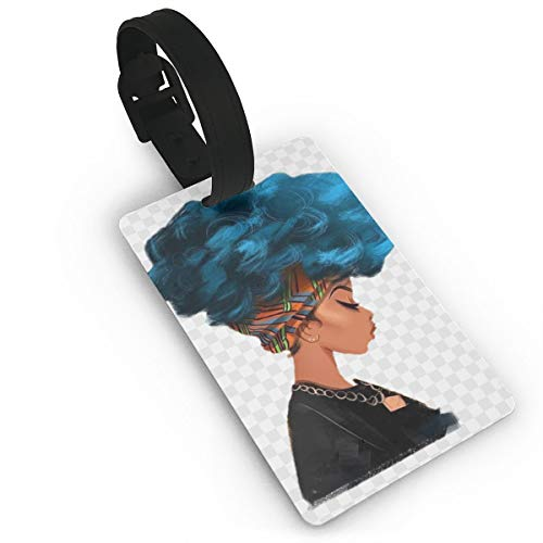 KKNSJR Afro African American Women Colorful Printed ID Tags Business Card Holder for Luggage Baggage Travel Identifier,Luggage Tags for Women Men