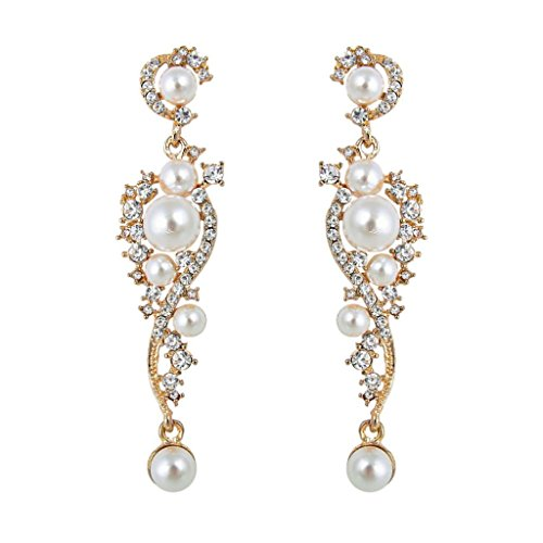 EVER FAITH Women's Austrian Crystal Cream Simulated Pearl Bridal Vine Dangle Earrings Clear Gold-Tone