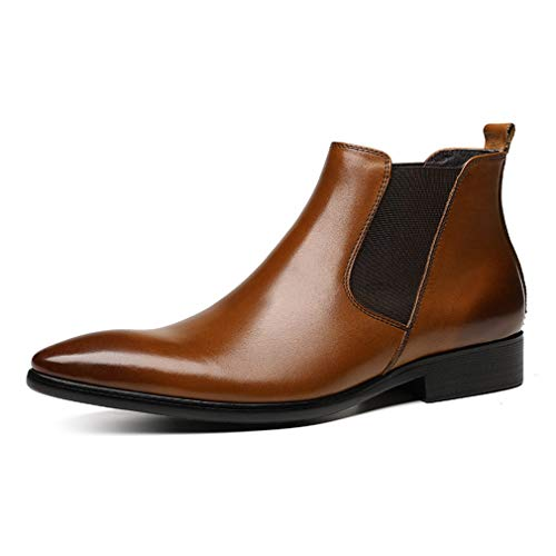 FARYM Men's Pointed Toe Business Formal Leather Chelsea Boots