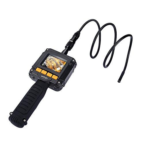 Inspection Camera, UNIOJO Digital Borescope 2.4 inch Color LCD Screen Endoscope Camera with 8MM Camera Diameter IP67 Waterproof Semi-Rigid Snake Tube Camera, Tool Box (Black)