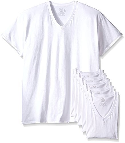 Fruit of the Loom Men's 6-Pack Stay-Tucked V-Neck T-Shirt (White, X-Large/46-48 Chest)
