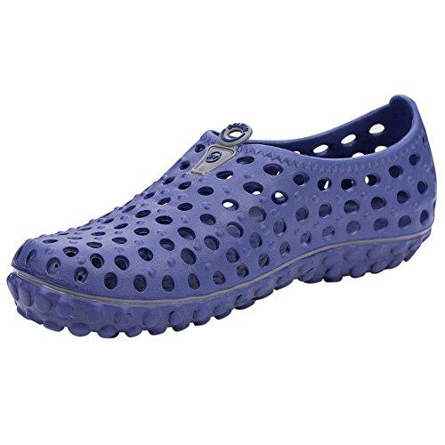 Robasiom Hombres Summer Garden Zuecos Ligeros De Malla De Secado Rápido Zapatillas De Caminar Pisos De Playa Antideslizantes Zapatos Hombres Para Interiores Azul Al Aire Libre