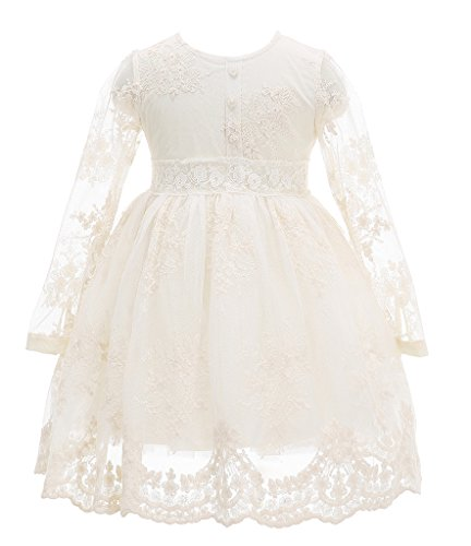 Bow Dream Flower Girl Dress Vintage Lace Cream Ivory 10 (Girls Victorian Dress)