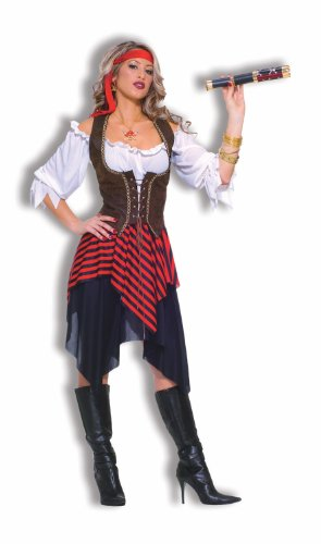 Forum Novelties Women's Sweet Buccaneer Pirate Costume, Black/Red, Standard (Pirate Costumes)