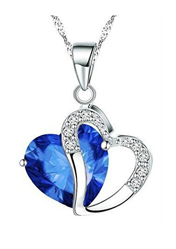 Durcoo Heart Crystal Pendant Necklace Spring Ring Clasp Jewelry Girls Dark Blue - Dark Blue Pendant Necklace