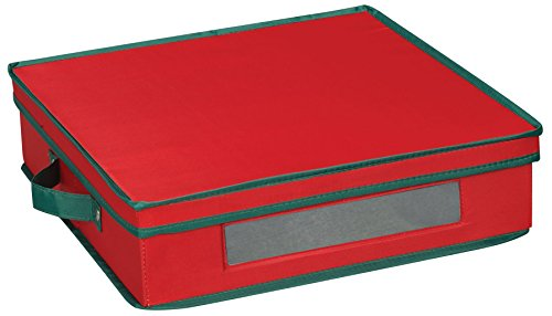 Household Essentials 537RED Holiday China Storage Chest with Lid and Handles | Charger Plates and Platters | Red Canvas with Green - Red Charger Glass