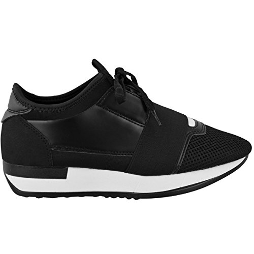 Shoes Black Heelberry Trainer Band Walking Lace Bali White up Sole Runner Gym Girls Stretch Womens Ladies 1r17O