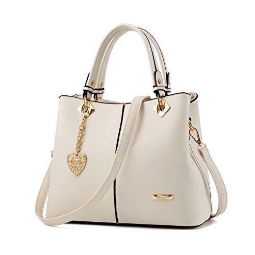 Panzexin Women Top Handle Satchel Handbags Tote Purse Crossbody Bags for Women (White)