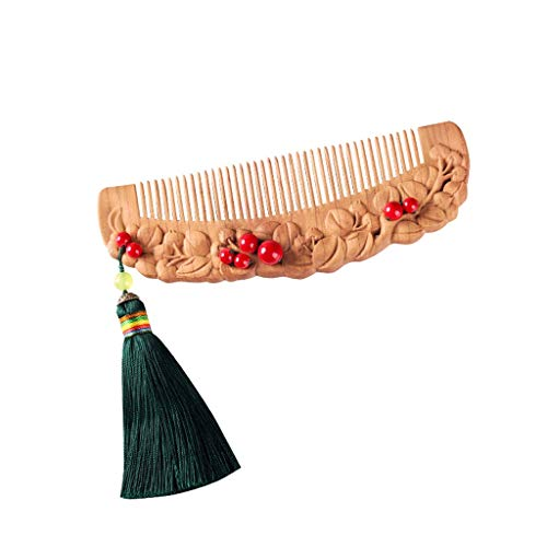 Natural wooden comb Walnut Comb, Tassel Pendant Wood Comb, Green Sandalwood Comb, Anti-static Sandalwood Comb, Woodcarving Comb, Wooden Comb Wooden comb massage ()